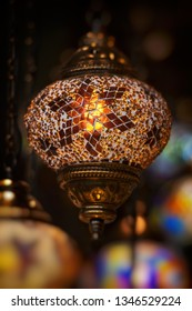 Oriental lamp in brass with colorful glass. Very popular lamps in the middle east.
