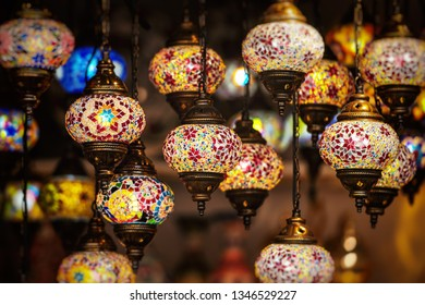 Oriental lamps in brass with colorful glasses. Very popular lamps in the middle east.