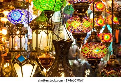 Oriental lamps in the Turkish bazaar. Eastern lamps in turkish market. Lamps in oriental market