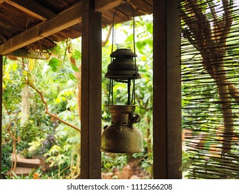 Oriental lantern in bamboo house. Tranquility concept.