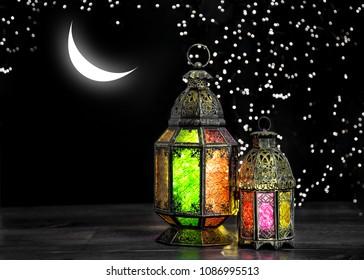 Oriental light lantern with moon and stars. Arabic holidays decoration. Ramadan