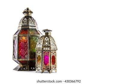 Oriental light lantern on white background. Arabic decoration