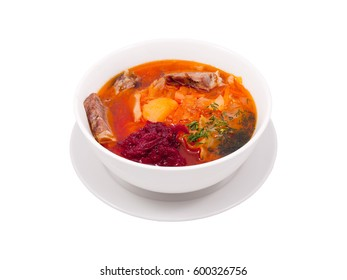 Oriental Middle Asia Restaurant Menu Hot Spicy Meat Vegetables Soup Dish Plate White Background