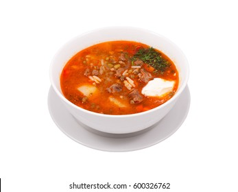 Oriental Middle Asia Restaurant Menu Hot Spicy Rice Meat Vegetables Soup Dish Plate White Background