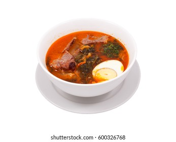 Oriental Middle Asia Restaurant Menu Hot Spicy Meat Eggs Soup Dish Plate White Background
