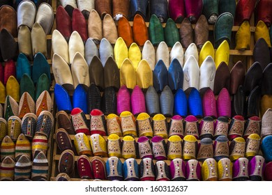 Oriental Moroccan slippers on display in the medina of Fez