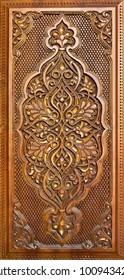 Oriental ornaments wooden carved.Eastern doors.