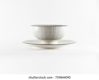 Oriental pattern dinner ware isolated on white background
