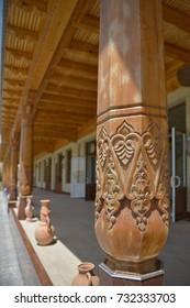 Oriental patterns in the wooden pillars in Samarkand