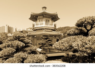 The oriental pavilion of absolute perfection in Nan Lian Garden, Chi Lin Nunnery, Hong Kong. The name of the tower means 'Perfect virtue' - Old photo antique effect