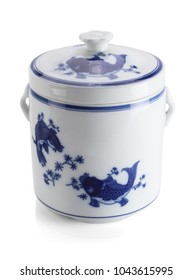 Oriental Porcelain Container on White Background