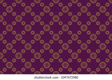Oriental raster classic pattern. Seamless abstract pattern with golden repeating elements on purple backdrop. Purple and golden pattern.