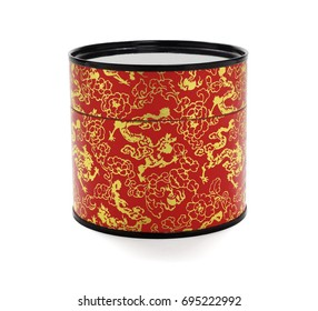 Oriental Red Floral Paper Container on White Background