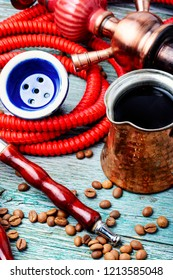 Oriental shisha hookah with aroma coffee for relax.Modern hookah with coffee.Traditional arabic shisha