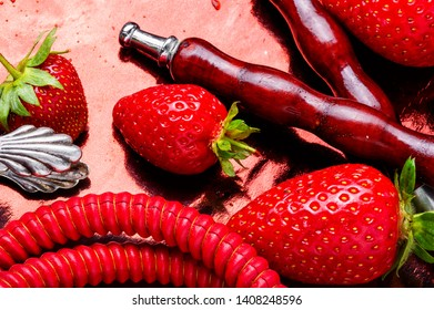 Oriental smoking hookah with tobacco with strawberry flavor.Smoking