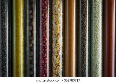 Oriental spices on glass jars