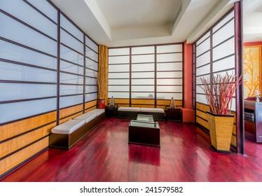 Oriental  style  japanese room, lobby, entrance, hall of luxury five stars resort, restaurant. Interior design.