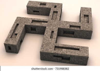 Oriental Swastika Religious Symbol Unique 3D Design Illustration