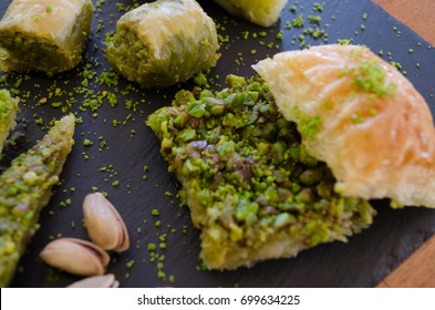 Oriental sweets. Baklava and pistachio