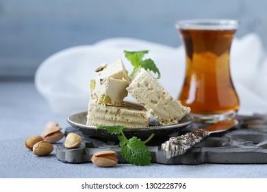 Oriental sweets - halva with pistachios