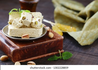 Oriental sweets - halva with pistachios