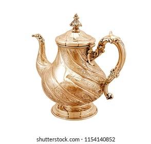 Oriental teapot isolated on white background