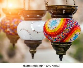 Oriental turkish lanterns arabic lamps sale in Grand Bazaar at Istanbul, Turkey