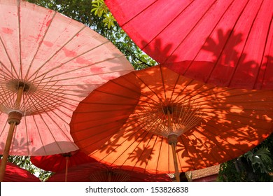 Oriental umbrellas and leaves shadow in Thailand