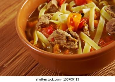 oriental uzbek soup lagman .farm-style