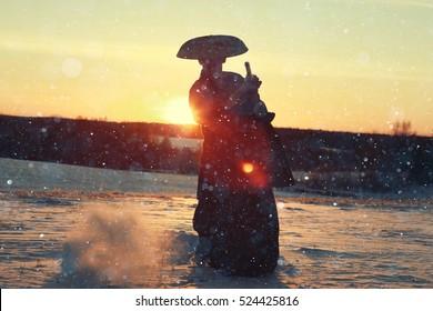 oriental warrior winter sunset