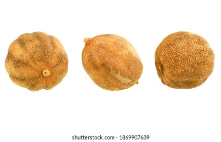 Oriental Whole Dried Lemon (Dry Lime). Isolated on White.