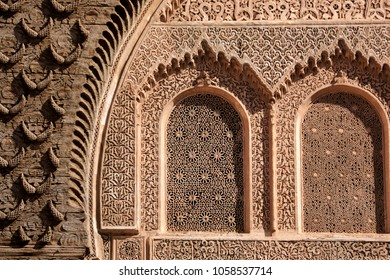 Oriental window carvings at the Ben Youssef Madrasa (Qur'anic school) in Marrakesh, Morocco