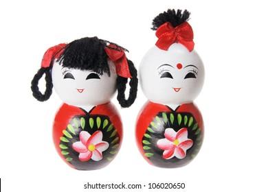 Oriental Wooden Figures on White Background
