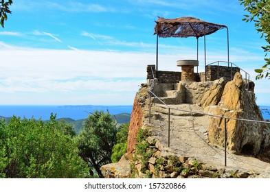 Orientation table on top of  Bormes les Mimosas, Provence, Var, Cote azur, France