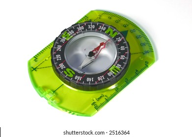 An orienteering compass isolated on a white background