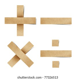 Origami alphabet letters number recycled paper craft stick on white background ( + - * /  )