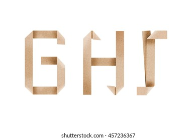 Origami alphabet letters from recycle paper fold on white background