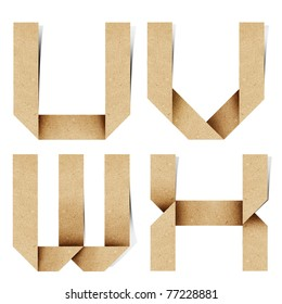 Origami alphabet letters recycled paper craft stick on white background  (  u v w x )