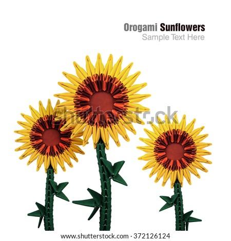 Origami Art Nature Sunflower Head Sun Stock Photo Edit Now