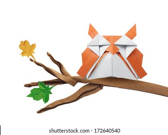 Origami Art Owl Bird On A Branch Isolated White Background