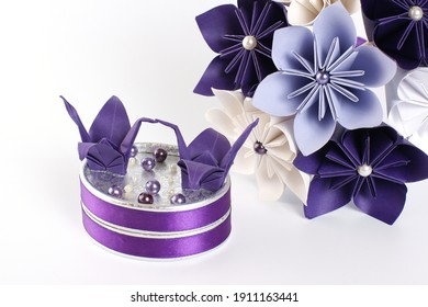 Origami artificial wedding paper bouquet - purple and white flowers with beads, and ring box decorated with origami birds and flowers