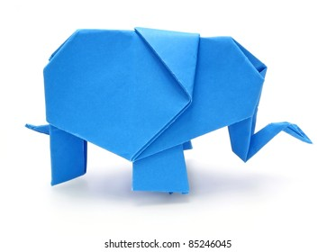 Origami blue elephant on white background
