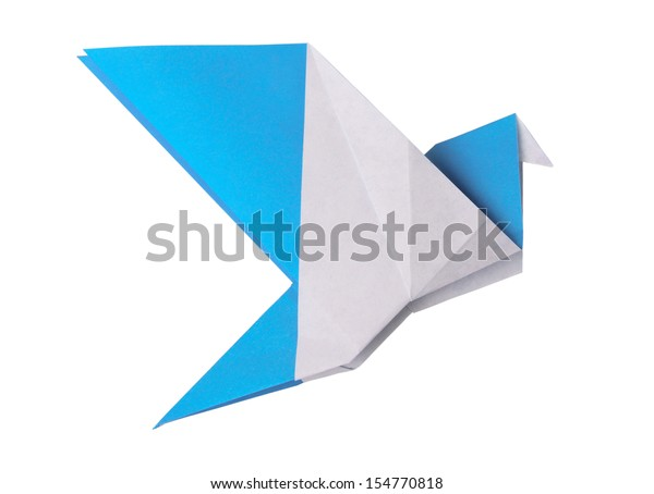 Origami blue paper twitter bird on a white background