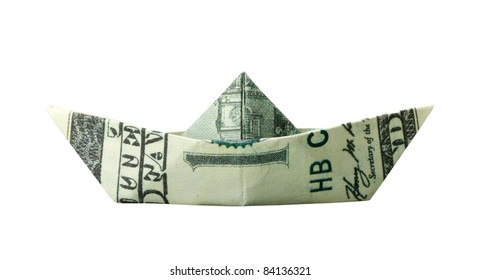 Origami boat folded from $100 banknote. Isolated