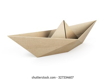 Origami boat out recycle paper isolated on white background. 3d illustration.