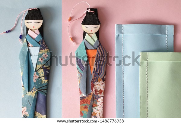 Japanese origami doll bookmarks in various colours. $4.00, via ... | 412x600