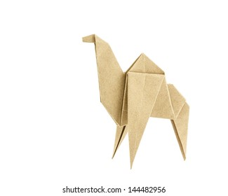 Origami camel recycle  paper isolated on white background
