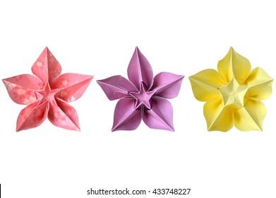 Modular origami sonobe ball on blue stock photo edit now origami carambola flower on white background mightylinksfo