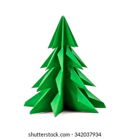 Origami Christmas tree with green paper isolated on white background for decoration, front view.
