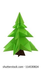 origami christmas tree on white background